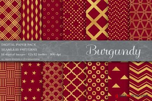 Gold Burgundy Digital Papers - 4025383