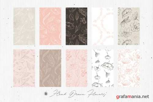 Hand Drawn Flowers Seamless Patterns
