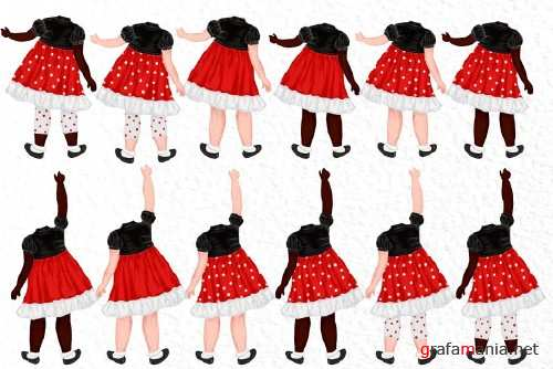 Cute Little girls Besties clipart - 4037538