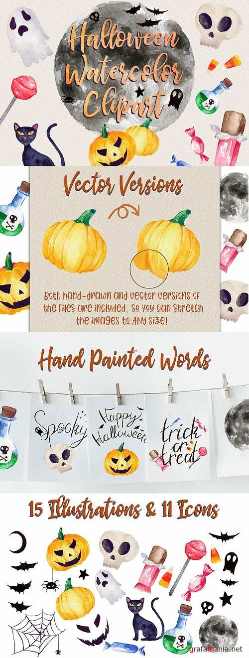 Halloween Watercolor Clip Art Pack! With SVG/Vector Versions 301801