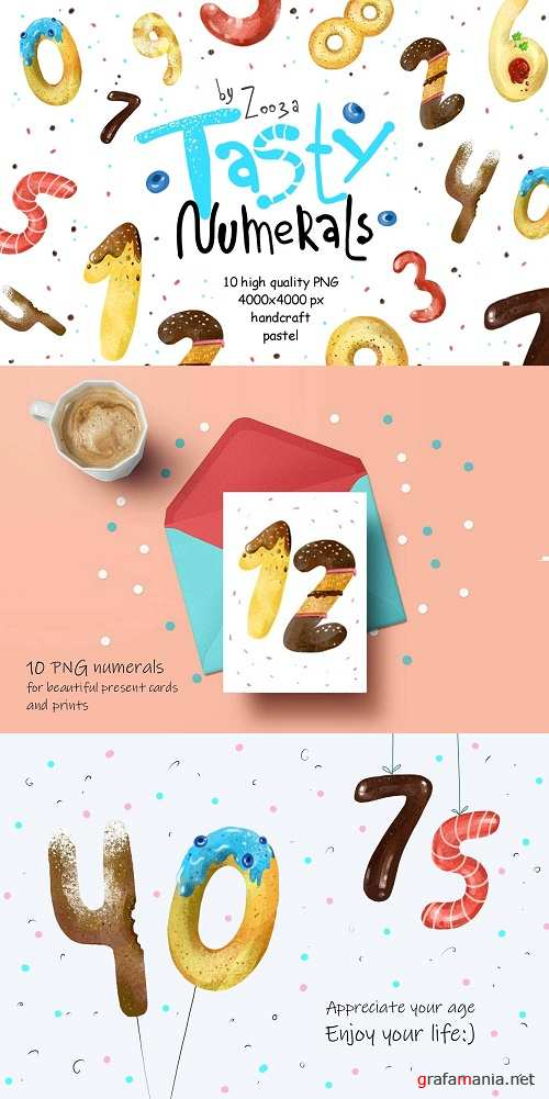 Tasty Numerals - 10 illustrations - 4057620