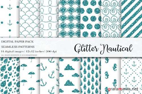 Glitter Nautical Digital Papers - 4042032