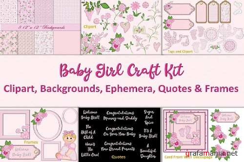 Baby Girl Clipart and Backgrounds Bundle - 324004
