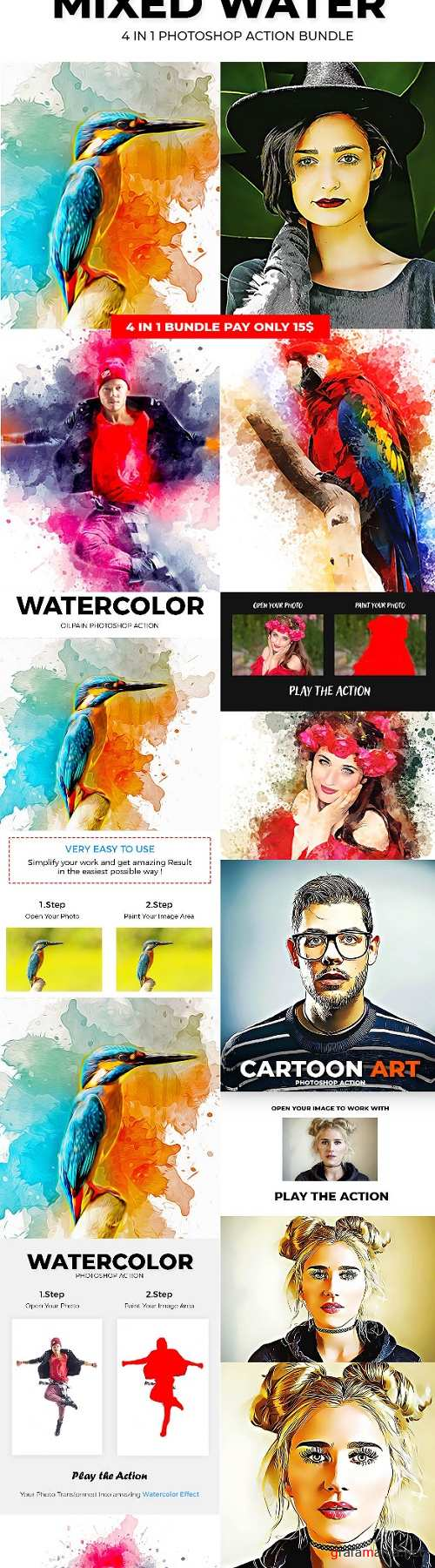 Mixed Water 4 in 1 Photoshop Action Bundle - 23414739