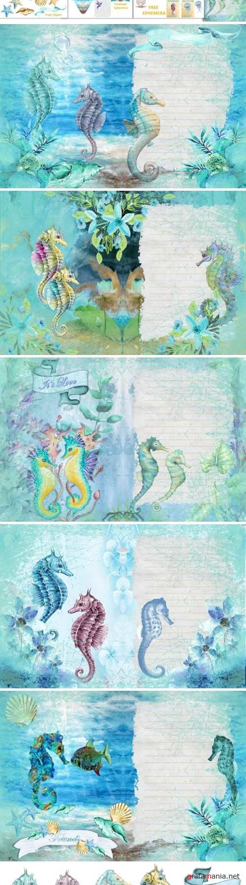Seahorses Journaling pages FREE Clipart and Ephemera - 298582
