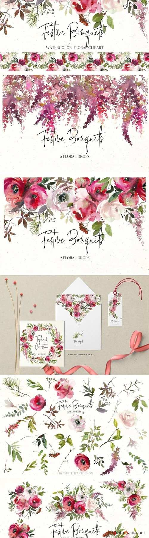 Festive Bouquets Watercolor Flowers - 3004799