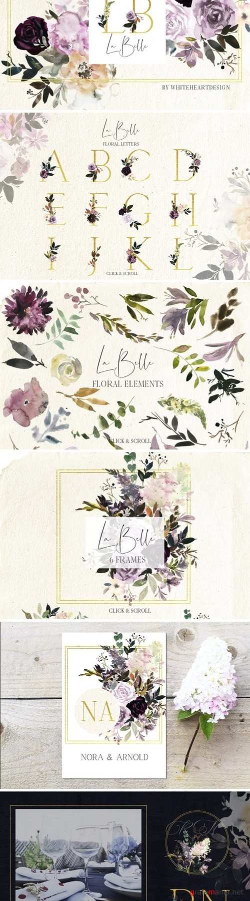 La Belle Watercolor Floral Clipart - 2876711