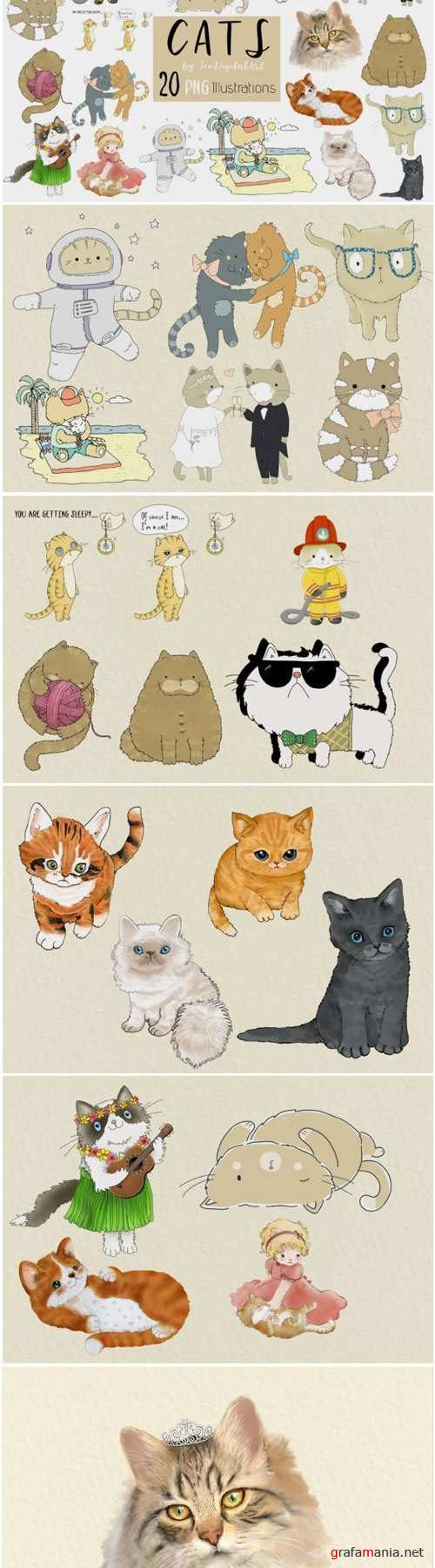 CATS | 20 Assorted PNG Clip Art Illustrations - 307271
