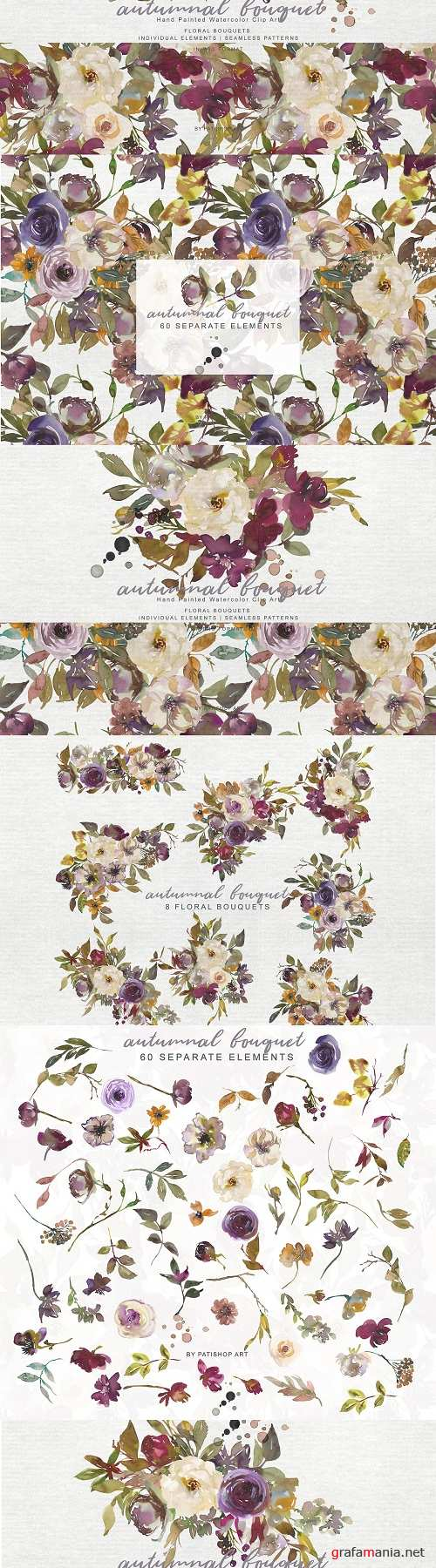 Fall Ivory Wine Flowers Clipart Set - 4028634