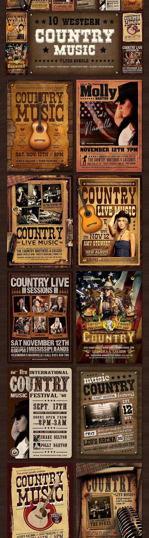 10 Country music Flyer Bundle - 3804675