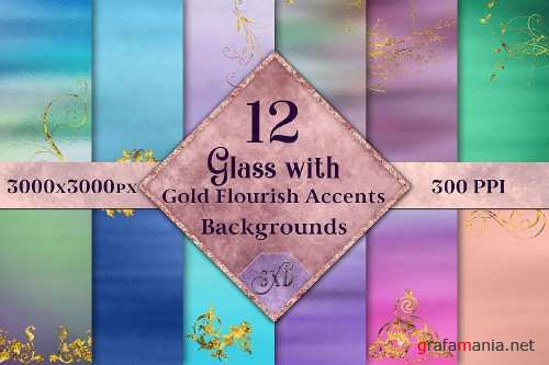 Glass with Gold Flourish Accents Backgrounds - 12 Images - 327309