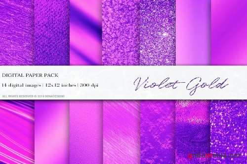 Violet Gold Digital Papers - 4063066