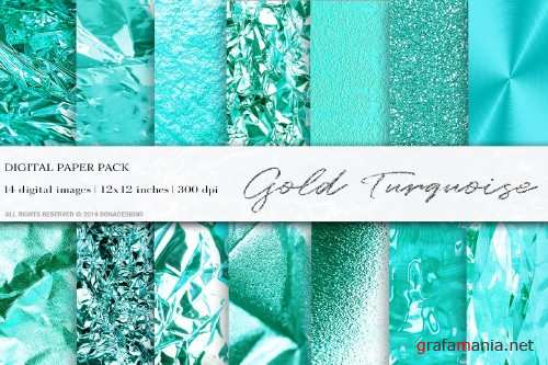 Turquoise Gold Digital Papers - 4060248