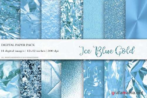 Ice Blue Gold Digital Papers - 4062575