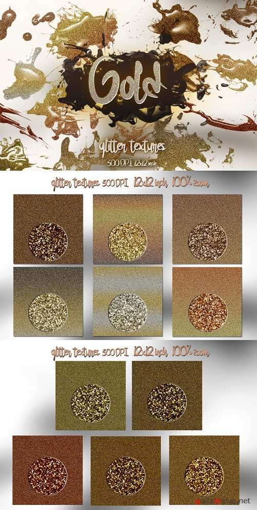Luxury Glitter digital paper 12 Gold colors - 343684