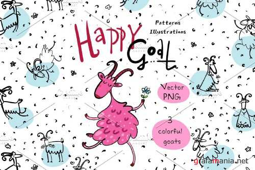 Happy Goat - patterns and prints - 4069104