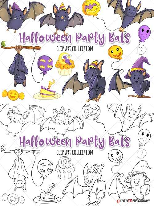 Halloween Party Bats Clip Art Collection and Digital Stamps - 346404 - 346403
