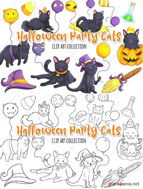 Halloween Party Cats Clip Art Collection and Digital Stamps - 346400 - 346401