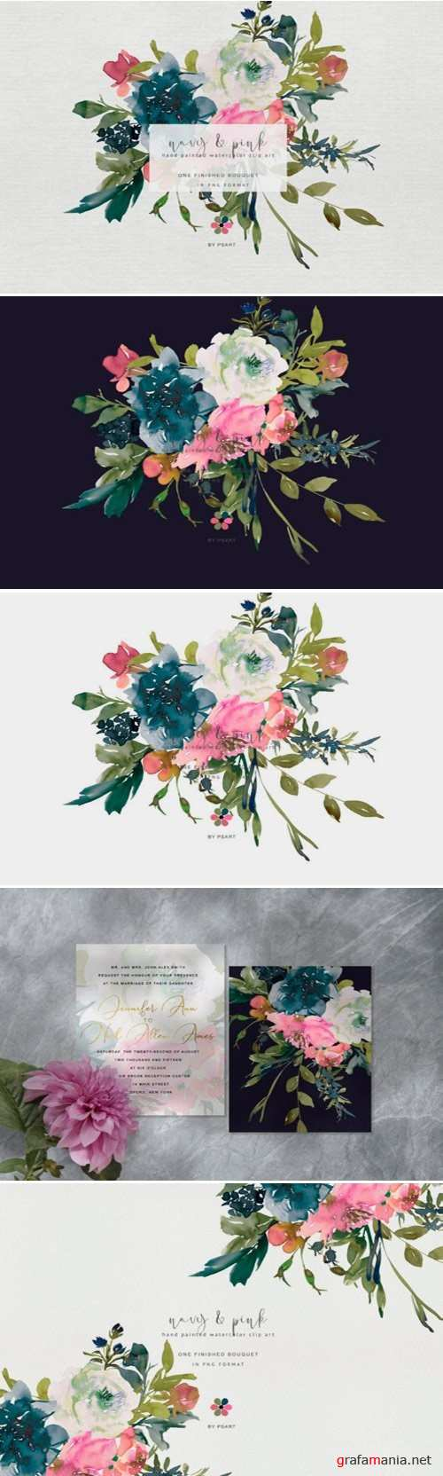 Hand Painted Watercolor Floral Bouquet Clipart - 345135