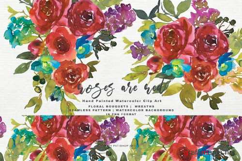 Watercolor Red Rose Clipart Set - 4093751