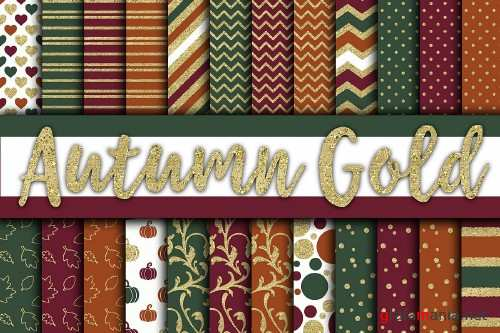 Autumn Gold Digital Papers - 329539