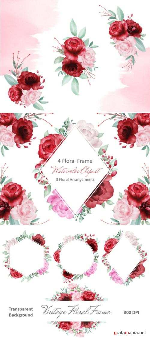 Blush Roses Watercolor Flowers Clipart