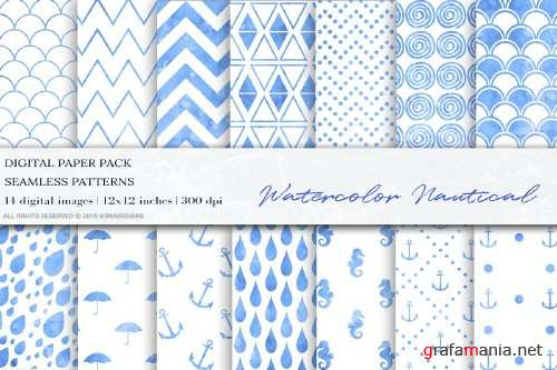 Blue Watercolor Nautical Pattern - 4095201