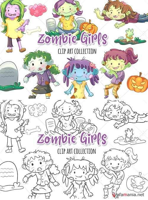 Zombie Girls Clip Art Collection  and Digital Stamps - 348646