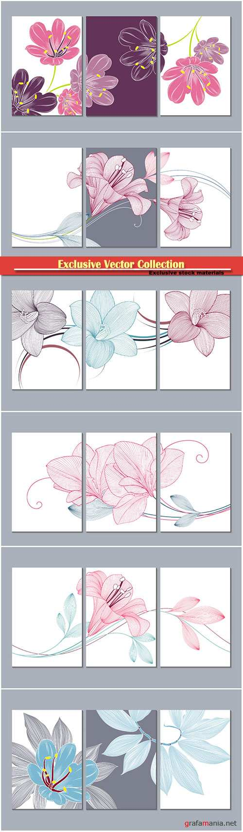 Vector paintings with flowers