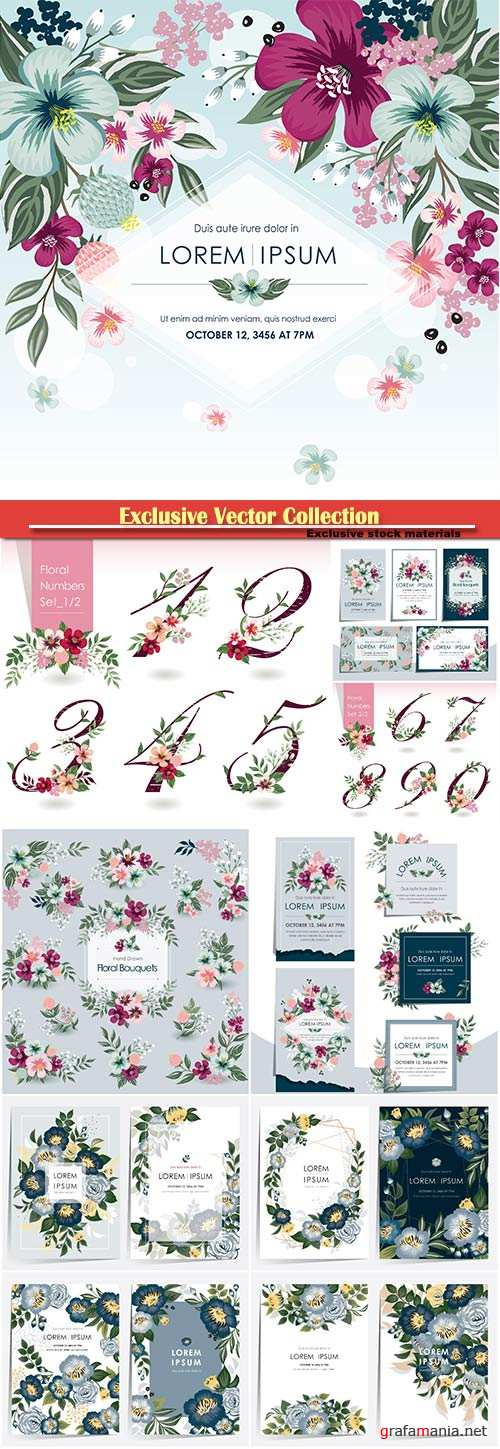Vector backgrounds and elements with flowers