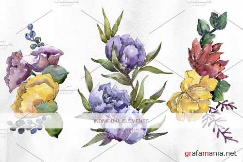 Hand-drawn flowers and bouquet - 4096023