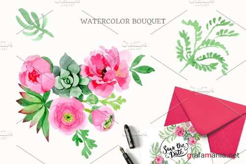 Buttercup flowers pink Watercolor - 4096771