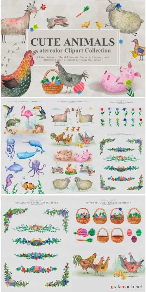 Cute Animals Watercolor Collection - 2345635