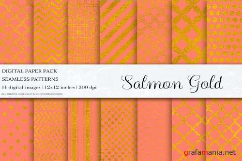 Salmon Gold Digital Papers - 4101051