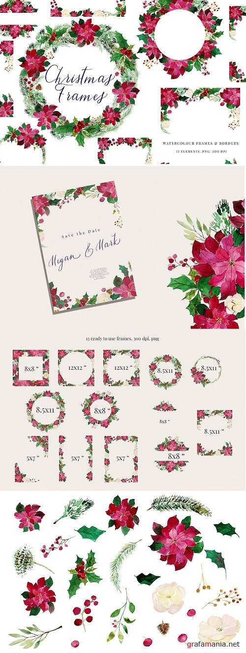 Christmas Watercolour Frames with Poinsettia, PNG - 352432