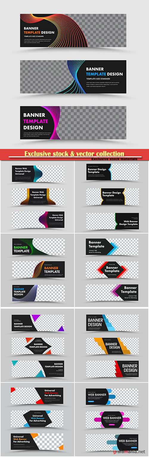 Set of templates of black horizontal web banners and space for a photo