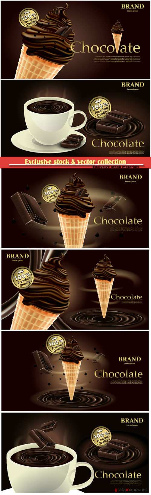 Delicious chocolate ice cream, chocolate drink with cup, milk vector illustration