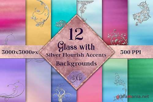 Glass with Silver Flourish Accents Backgrounds - 12 Images - 348689