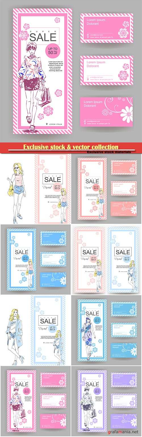 Layout for a big sale in fashion shop with business card, drawn fashion elegant girl in stylish clothes