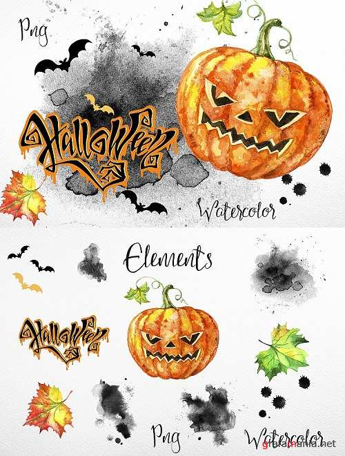Halloween. Set of watercolor clipart - 352636