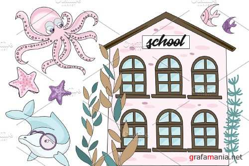 Mermaid School Vector Illustration Animation - 3780254