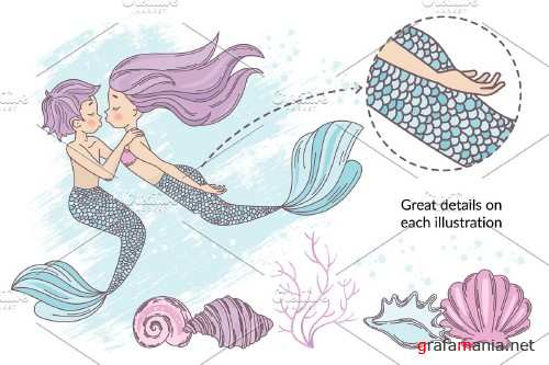 Mermaid in Love Illustration Set - 3383689