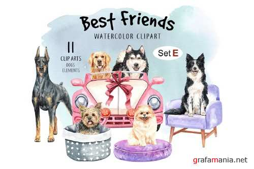Dog clip art, Watercolor painting dog and toy set E - 352457