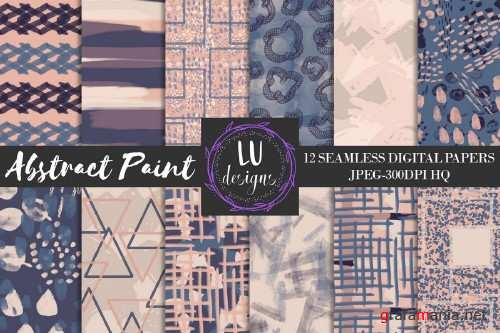 Navy and Nude Abstract Paint Patterns - 58889