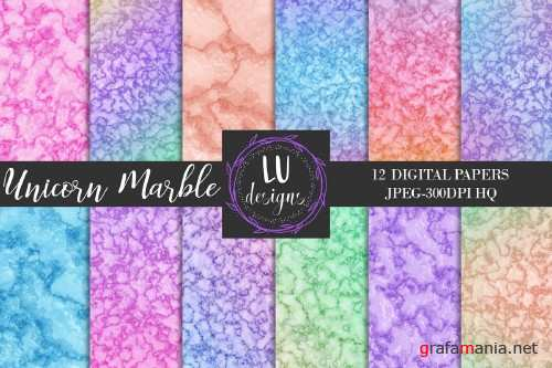 Unicorn Marble Digital Paper Pack - 59549