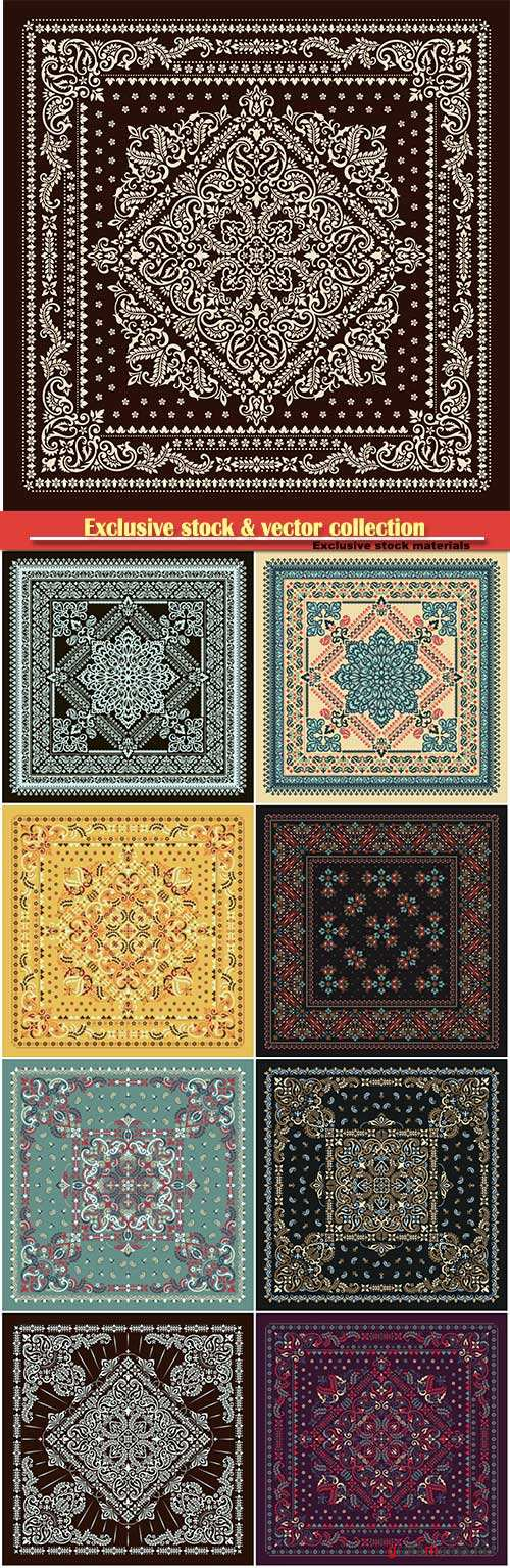 Vector ornament paisley Bandana, kerchief square pattern design style