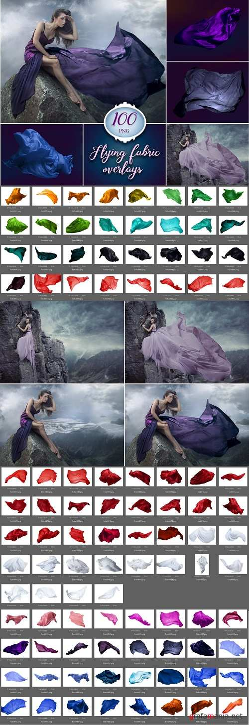 100 Flying Fabric Photo Overlays - 315714