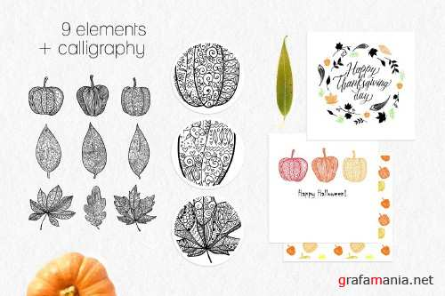 Leaves and pumpkins kit EPS 392557