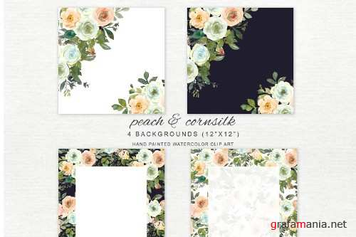 Watercolor Wine & Peach Florals - 4107566