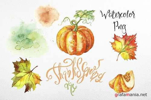 Thanksgiving day. Set of watercolor clipart - 353312